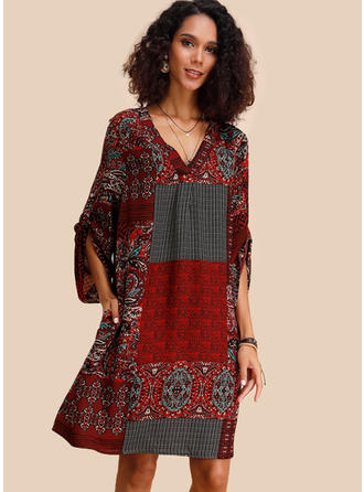 Print/Patchwork 3/4 Sleeves Shift Knee Length Casual Dresses