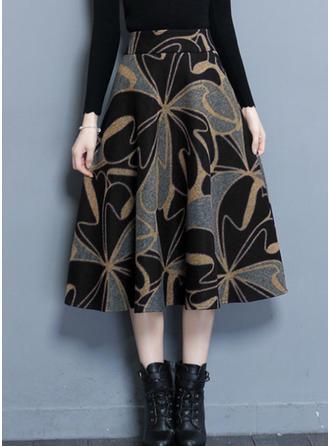 Woollen Floral Mid-Calf A-Line Skirts