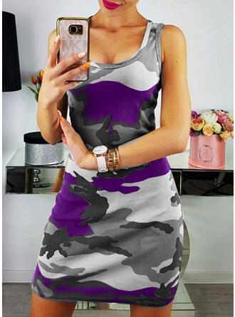 Print Sleeveless Sheath Above Knee Sexy/Casual Dresses