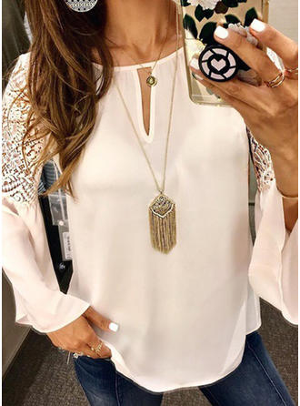 Solid Lace Round Neck Flare Sleeve Casual Elegant Blouses