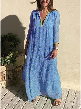 Print 3/4 Sleeves Shift Casual/Boho/Vacation Maxi Dresses