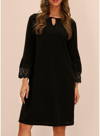 Lace/Solid 1/2 Sleeves/Long Sleeves Shift Knee Length Little Black/Casual/Elegant Dresses