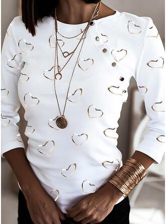Impresión Corazón Cuello redondo Manga Larga Con Botones Casual Blusas
