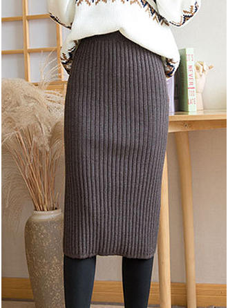 Knitting Plain Mid-Calf Bodycon Skirts