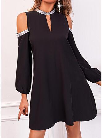 Solid Sequins Long Sleeves Cold Shoulder Sleeve Shift Above Knee Little Black/Elegant Dresses