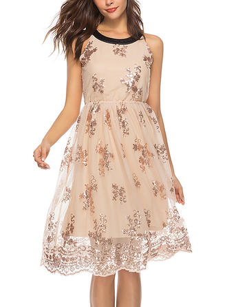 Lace Sequins Round Neck Knee Length A-line Dress