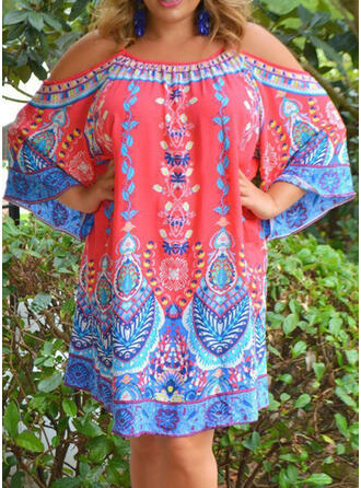 Plus Size Print 3/4 Sleeves Cold Shoulder Sleeve Shift Above Knee Boho Casual Vacation Dress
