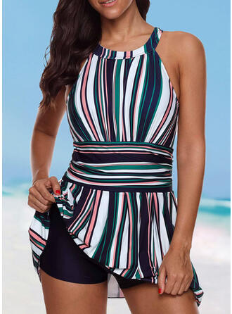 Stripe Round Neck High Neck Vintage Plus Size Swimdresses Swimsuits