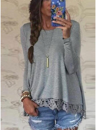 Cotton Round Neck Plain Long Sleeves Casual Blouses
