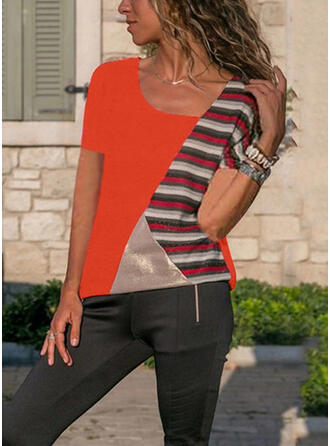 Patchwork Striped Round Neck Short Sleeves Casual T-shirts