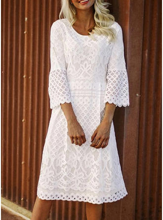 Lace/Solid 3/4 Sleeves Shift Midi Casual/Elegant Dresses