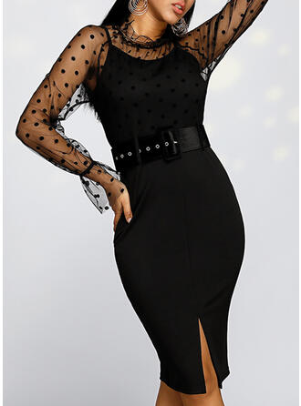 PolkaDot Long Sleeves Sheath Knee Length Party/Elegant Dresses