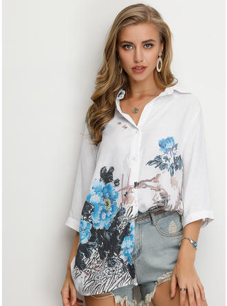 Floral Lapel 3/4 Sleeves Button Up Casual Elegant Shirt Blouses