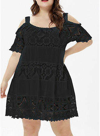 Lace/Solid Short Sleeves/Cold Shoulder Sleeve Shift Knee Length Little Black/Casual/Elegant/Plus Size Dresses
