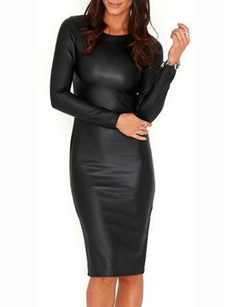Solid Long Sleeves Bodycon Knee Length Little Black Dresses