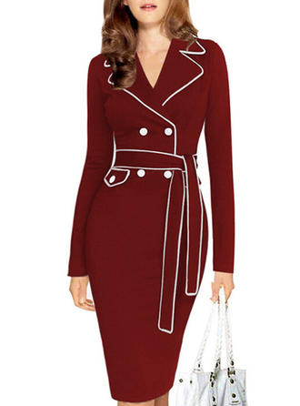 Solid Suit Collar Knee Length Bodycon Dress