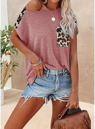 Leopard Rundhalsausschnitt Kurze Ärmel T-Shirts