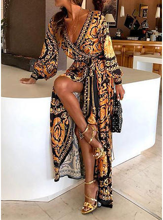 Print Long Sleeves A-line Maxi Casual/Boho/Vacation Dresses