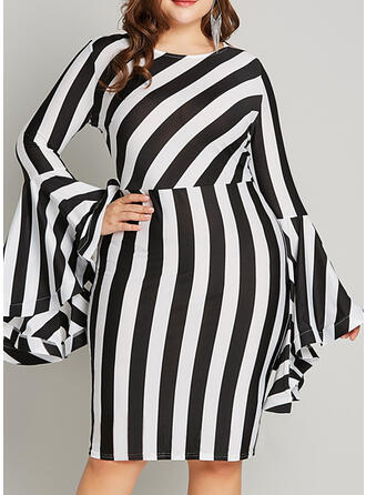 Print/Striped Long Sleeves/Flare Sleeves Bodycon Knee Length Party/Plus Size Dresses