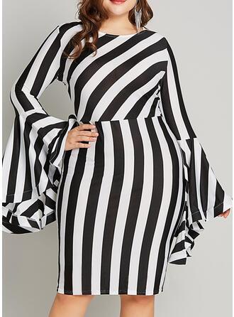 Imprimée/À Rayures Manches Longues/Manches Évasées Moulante Longueur Genou Fête/Grande taille Robes
