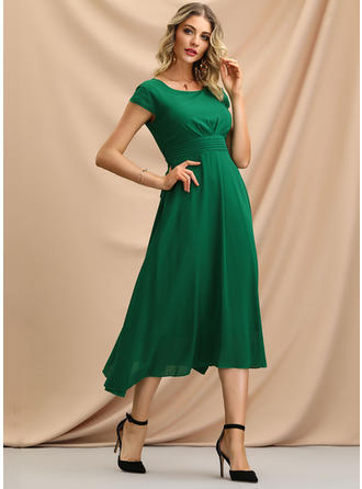 Solid Short Sleeves A-line Midi Casual/Elegant Dresses