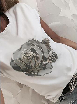 Květiny Tisk Kulatý Výstřih Krátké rukávy Trička