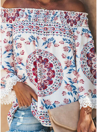 Print Bloemen Kant Off the Shoulder Flare Mouw Lange Mouwen Casual Pailletten Blouses