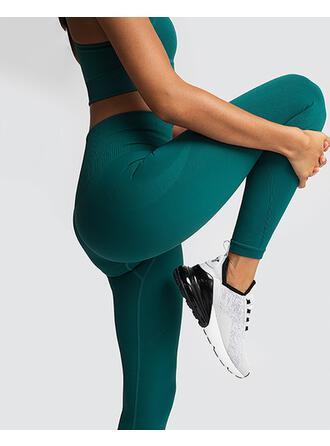 Fines Bretelles Sans Manches Couleur unie Ensembles de yoga