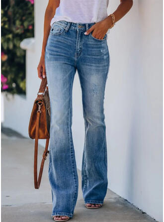 Pockets Shirred Long Elegant Sexy Denim & Jeans