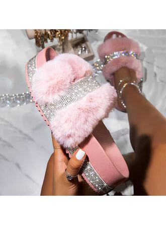 Women's Leatherette Sparkling Glitter Flat Heel Sandals Flats Platform Peep Toe Slippers With Rhinestone Faux-Fur shoes
