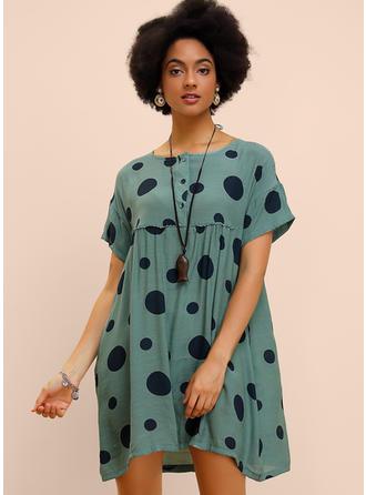 PolkaDot Short Sleeves Shift Above Knee Casual Dresses