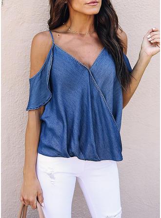Cotton V Neck Plain Short Sleeves Casual Blouses