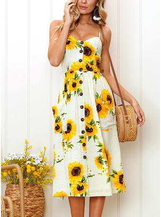 Sunflower Print Sleeveless A-line Casual/Vacation Midi Dresses