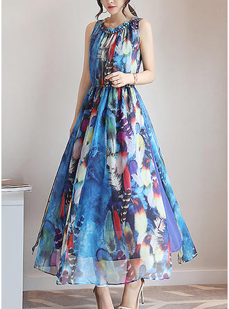 Chiffon With Print Midi Dress