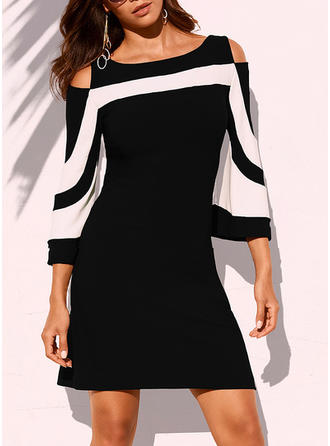 Striped Cold Shoulder Sleeve Sheath Above Knee Casual Dresses