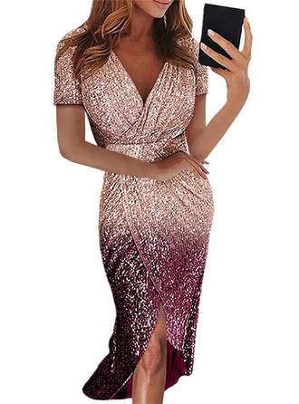 Sequins Short Sleeves Sheath Midi Party Dresses