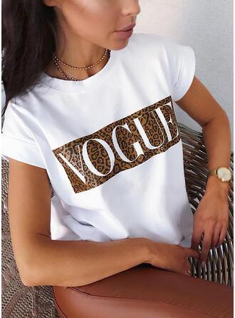 Figuur luipaard Print Ronde Hals Korte Mouwen T-shirts