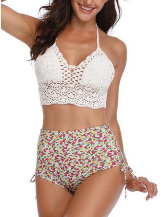 Fleuris Taille Haute Dos Nu Mignon Bikinis Maillots De Bain