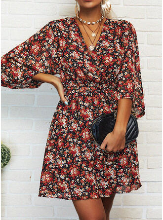 Print/Floral 3/4 Sleeves A-line Above Knee Casual/Vacation Skater Dresses (199293289)