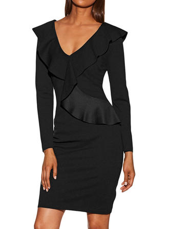 Solid Long Sleeves Bodycon Above Knee Vintage/Little Black Dresses