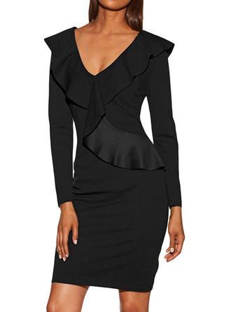 Couleur Unie Manches Longues Moulante Au-dessus Du Genou Vintage/Petites Robes Noires Robes