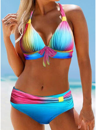 Print Knotted Halter Plus Size Colorful Bikinis Swimsuits