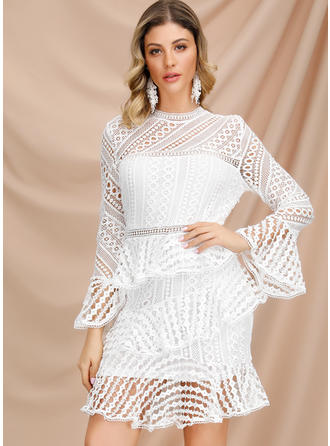Lace Long Sleeves A-line Above Knee Dresses