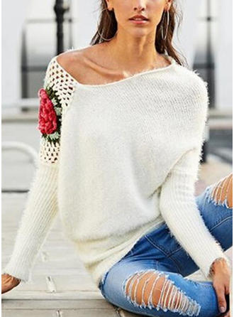 Pulls en Mohair Off the Shoulder Broderie Floral Pulls