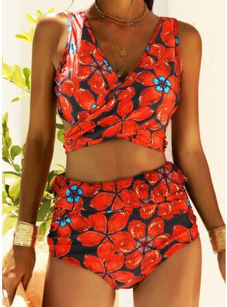 Floreale Scollatura a V Senza spalline Bella Stile vintage Attraente Bikinis Costumi Da Bagno