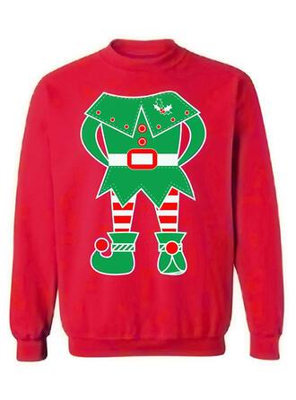 Unisex Cotton Blends Cartoon Christmas Sweatshirt