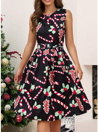 Print Sleeveless A-line Knee Length Christmas/Casual/Elegant Dresses