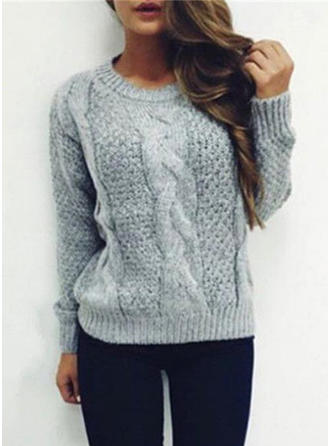 Mohair Round Neck Waffle Knit Sweater