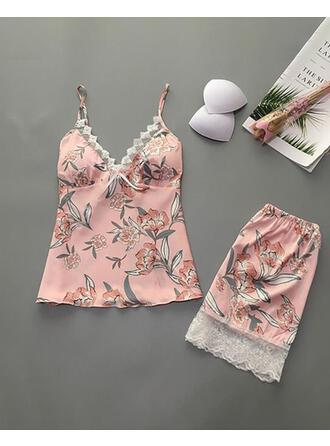 V-Neck Sleeveless Floral Casual Top & Pants Sets
