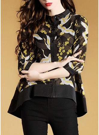 Chiffon Round Neck Print 1/2 Sleeves Casual Blouses